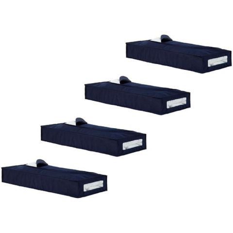4 Navy Blue Underbed Bags - Fills Under A Whole Single Bed